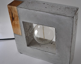 Large Concrete And Wood Table Lamp