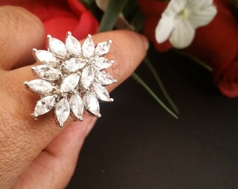 Gorgeous Bridal Cubic Zirconia Marquise gems Ring-CZ Bridal Ring-Wedding jewellery-Nickel free-Rhodium plated-With Gift Box