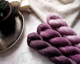 Gradient Yarn Set | Hand Dyed Yarn | Cashmere Wool Yarn | Knitting | Lace Yarn | Weaving | Upcycled | Eco Friendly | PREORDER - Bordeaux