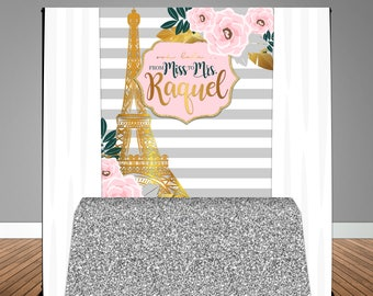 Parisian themed Bridal Shower 5x6 Table Banner Backdrop/ Step & Repeat, Design, Print and Ship!