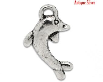 1 11 * 19 mm metal Dolphin charm