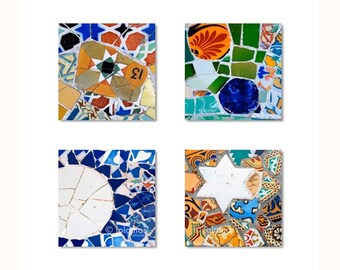 Wall art set, bathroom wall art, Gaudí, Spanish tiles, Wall art prints, Barcelona prints, Art Nouveau