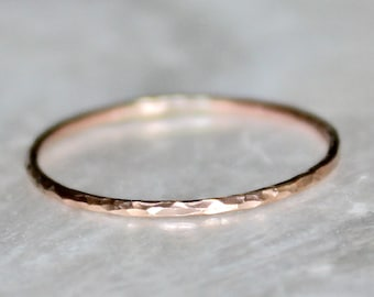 Shimmering Hammer Faceted Micro Skinny or Skinny Bands - Stacking Wedding Promise Ring Midi Fitted Toe Ring - Choice of Metal
