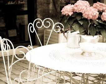 Paris Photography - Table in Parisian Courtyard, Spring in Paris, Romantic Paris Art, Paris Home Decor, Bedroom Decor, Paris Pink Flowers