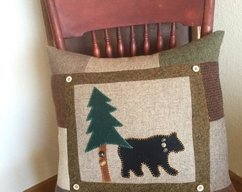 Bear Pillow Cabin Decor Wool pine trees Woodland
