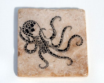 Black Geometric Octopus Coaster (1 Stone Coaster) Ocean and Beach Home Decor - Marine Animal Art