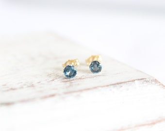 14k Gold and Blue Zircon Earrings - December Birthstone Studs - Gemstone Earrings - Simple Gold Earrings -Light Blue Bridesmaids Gift