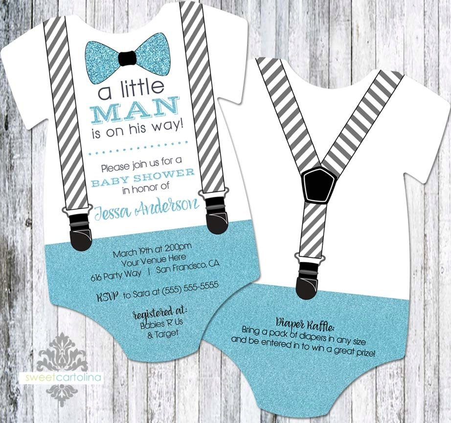 Little Man Baby Shower Invitation Boy Bow Tie and Suspenders