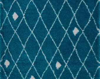 SHAGGY Victoria Trellis Ivory Turquoise Area Rug