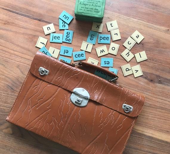 Vintage school bag   leather business bag   leather laptop bag   sixties school bag   rare leather bag   Dutch school bag   Small book bag