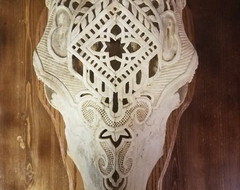 Cow skull carving