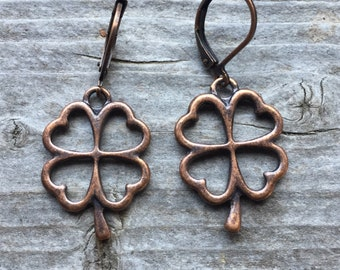 Antique Copper Shamrock Earrings With Lever Backs ST PATRICK'S DAY Jewelry