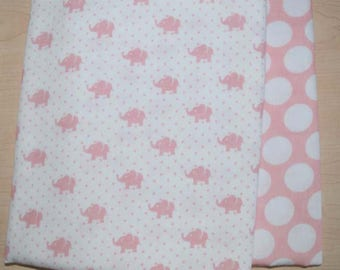 Make a baby blanket set of 1 and 1/4 Yard of 2 matching Little Prints DOUBLE GAUZE cotton fabrics from Robert Kaufman in pink