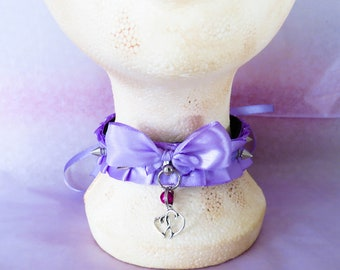 Lavender A-symmetrical spiked pleated collar