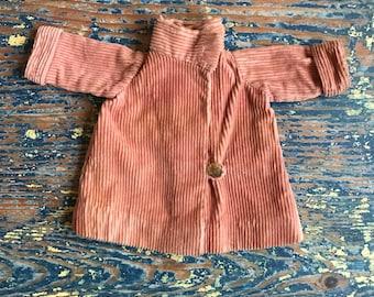 Vintage 1960s Peach Corduroy Doll Coat