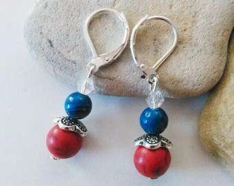 Red Turquoise Blue Agate Earrings 925 Sterling Silver Leverback Earrings Summer July Birthday Red White Blue Americana Gifts for Triathletes
