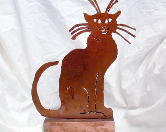 Metal Cat Sculpture by Michael Nathan