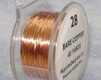 28 Gauge BARE Copper WIre, 120 Feet