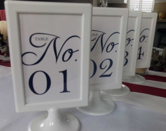 12 Elegant, pedestal frame table numbers