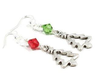 Christmas Tree Earrings Christmas Tree Jewelry  Christmas Jewelry  Tree Earrings Holiday Earrings Mismatch Christmas Earrings Gift CE04