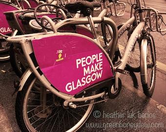 People Make Glasgow Bicycles - Wall Decor - Fine Art Photography Print, Scottish, Glasgow Pride, Contemporary, Scotland, Glaswegian