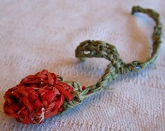 Red Crocheted Raffia Rosebud