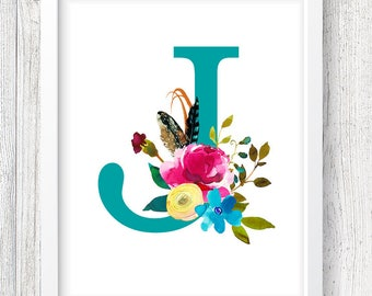 Letter J Digital Print, Monogram Print, Custom Nursery Print, Floral Print, Instant Download, 8x10 Digital Print, Nursery Wall Decor, Baby