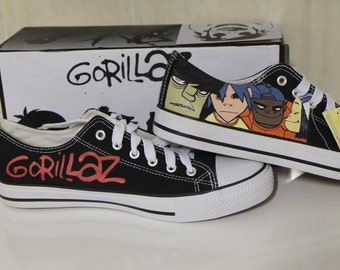 Shoes Gorillaz painted Sneakers Custom Gift Converse 2d Murdoc Russel Noodle Low Top Canvas