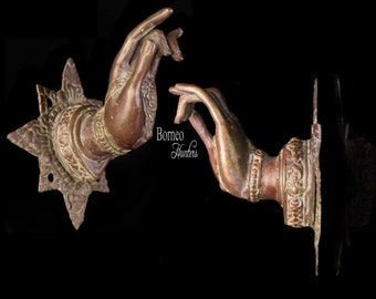 """Hand Sculpture 5.5x4.8""""Bronze Mudra Hand In Vitakra Mudra: Gesture Of Great Compassion~Home Display Brass Cabinet/Drawer Handle>SOLD AS PAIR"""