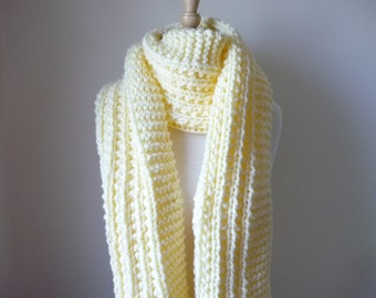 "Extra Long Scarf Knit Scarf Warm Winter Scarf Women's Scarf Soft Cream 10"" x 80""- Reversible Pattern - Direct Checkout - Ready to Ship"