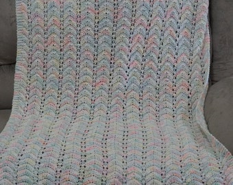 Knitted ripple baby afghan