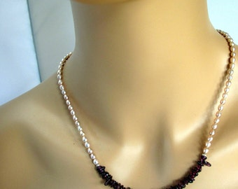 Pearl and red garnet necklace