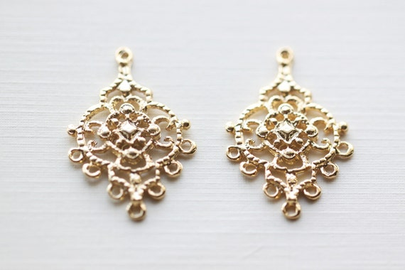 Vermeil gold chandelier earring components 7 holes 18k gold like this item mozeypictures Gallery