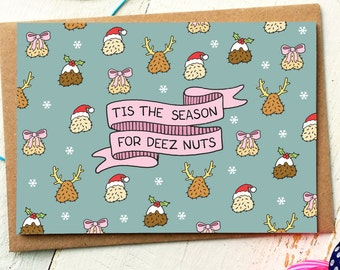 Christmas cards etsy sg funny holiday card funny christmas card deez nuts funny friend card naughty cards holiday greeting cards xmas cards deez nutz m4hsunfo