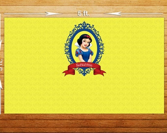 Snowwhite Birthday Party Backdrop - Printable Digital File Only - YOU PRINT