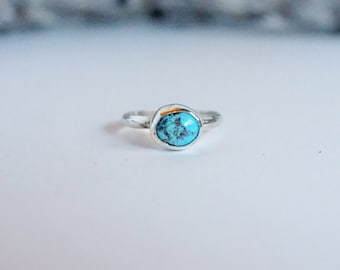 Mexican Turquoise Silver Ring, size 7.5