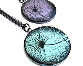 Mother Daughter Necklace Set,  Lavender Dandelion Necklace, Blue Dandelion Seed Pendant, Mom Gift,   Graduation Gift, Mother Daughter Gift