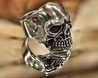 Silver Skull Ring - Hand Carved Sterling Silver Skull Ring - Skull Ring - Gothic Ring - Memento Mori Ring - Biker Ring - Rocker Ring - Skull