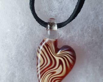 Heart Necklace - Handmade glass Valentines Day Gift Pendant