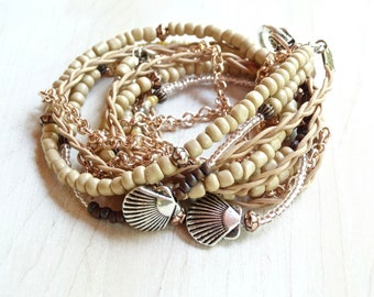 LEATHER WRAP BRACELET For Women Boho Wrap Bracelet Tan Beaded Wrap Bracelet Silver Shell Bracelet Leather Cuff Beach Theme Jewelry Rose Gold