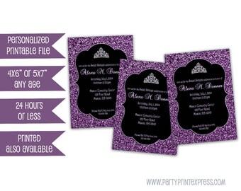 Printable Purple Sweet 16 Invite - Purple Glitter Sweet 16 Invitations - Purple and Black - Tiara Sweet 16 Invitation - Photo Invitations