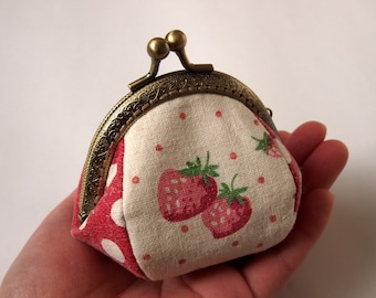 Framed Coin Purse/ Change Purse/ Jewelry Pouch/ Kisslock- Strawberry, Red - Handmade in Japan by Chikaberry