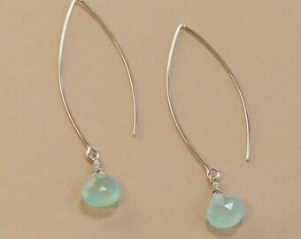Blue Chalcedony Earring, Long Dangle Earrings, Beach Wedding Jewelry, Beach Wedding Earrings, Beach Bridesmaid Gift, Aqua Earrings