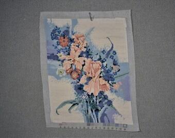 Finished Needlepoint Peach Flowers