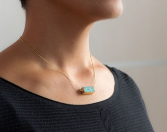 Amazonite Necklace Gold Dipped Natural Turquoise Necklace Blue Necklace Light blue Necklace silver gift Teen for her modern minimal