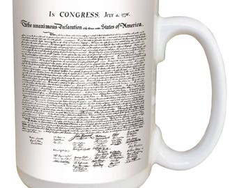 Declaration of Independence Mug. Large 15 ounce coffee mug, comfortable handle. 4th of July, great gift. Microwave and dishwasher safe.