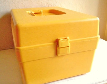 Latching Vintage Gold Sewing Pattern Storage Box 1970s