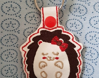 Sleepy hedgehog keyfob