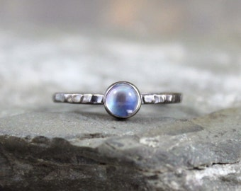 Moonstone Stacking Ring - Sterling Silver - Mystical Moonstone Ring - Dark Finish - Rustic Stack Rings - Jewellery Made in Canada - Dreamy