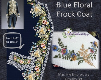 Blue Floral Frock Coat - Machine Embroidery Designs Set from English Man's Suit 1775–1780